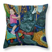 Elephant Ride Throw Pillow