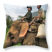 Elephant Rides Throw Pillow