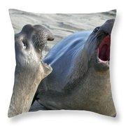 Elephant Seals - San Simeon California Throw Pillow