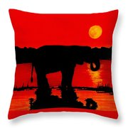Elephant Silhouette African Sunset Throw Pillow