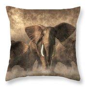 Elephant Stampede Throw Pillow