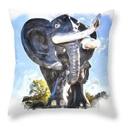 Elephant Statue Throw Pillow