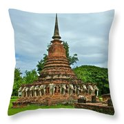 Elephant Stupa At Wat Sarasak In Sukhothai Historical Park-thailand Throw Pillow