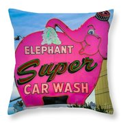 Elephant Super Car Wash Throw Pillow