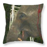 Elephant Under His Thumb Throw Pillow