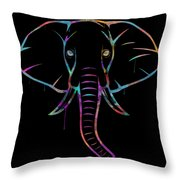 Elephant Watercolors - Black Throw Pillow
