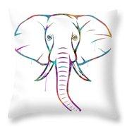 Elephant Watercolors - White Background Throw Pillow