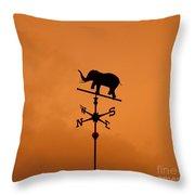 Elephant Weathervane Sunset Throw Pillow