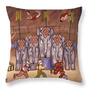 Elephants And Acrobats Throw Pillow