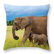 Elephants In Masai Mara Throw Pillow