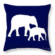 Elephants In Navy And White Throw Pillow