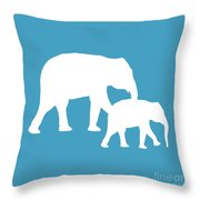 Elephants In White And Turquoise Throw Pillow