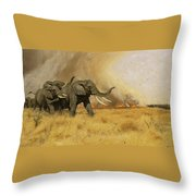 Elephants Moving Before A Fire Throw Pillow