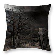 Elephants Of The Serengeti Throw Pillow
