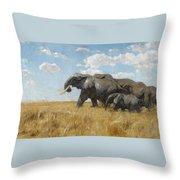 Elephants On The Move Throw Pillow