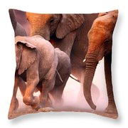 Elephants Stampede Throw Pillow by Johan Swanepoel