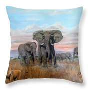 Elephants Warning To The Lions Throw Pillow