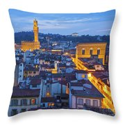 Elevated Night View Of Central Florence Throw Pillow