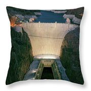Elevated View At Dusk Of Hoover Dam Throw Pillow