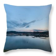 Elevated View Of A Harbor At Sunset Throw Pillow