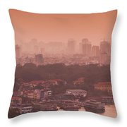 Elevated View Of A Lake And A City Throw Pillow