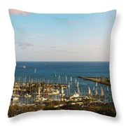 Elevated View Of Boats At A Harbor Throw Pillow