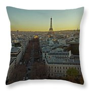 Elevated View Of Paris From Arc De Throw Pillow
