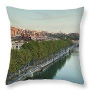 Elevated View Of The Zubizuri Bridge Throw Pillow