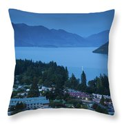 Elevated View Of Town At Dawn Throw Pillow