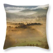 Elevated View Of Trees On Hill Throw Pillow