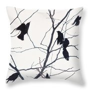 Eleven Birds One Morsel Throw Pillow