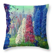 Elf And Fantastic Flowers Throw Pillow