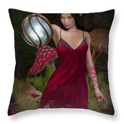 Elf With Lantern Throw Pillow