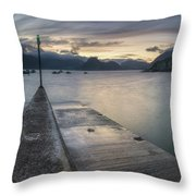 Elgol Pier And Boats With Cuillin Throw Pillow
