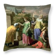 Eliezer And Rebecca At The Well Throw Pillow