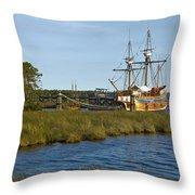 Elizabeth II In Port  Throw Pillow