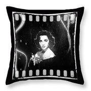 Elizabeth Taylor - Black And White Film Throw Pillow by Absinthe Art By Michelle LeAnn Scott