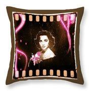 Elizabeth Taylor - Pink Film Throw Pillow by Absinthe Art By Michelle LeAnn Scott