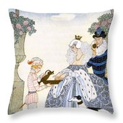 Elizabethan England Throw Pillow by Georges Barbier