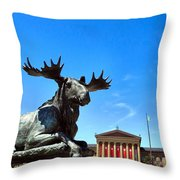 Elk And Monument Throw Pillow