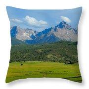 Elk Below Mount Sneffels Throw Pillow