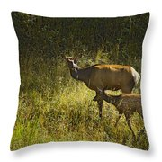 Elk Doe And Fawn-signed  #4465 Throw Pillow