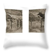 Elk Jumping A Fence Throw Pillow