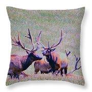 Elk On The Plains 2 Throw Pillow