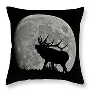 Elk Silhouette On Moon Throw Pillow