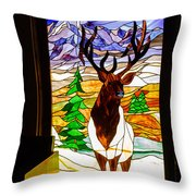 Elk Stained Glass Window Throw Pillow