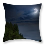 Elk Under A Full Moon Throw Pillow