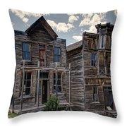 Elkhorn Ghost Town Public Halls - Montana Throw Pillow