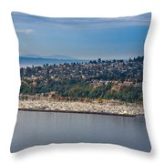 Elliott Bay Marina Throw Pillow