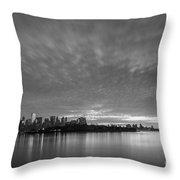 Ellis Island And Manhattan Sunrise Bw Throw Pillow
